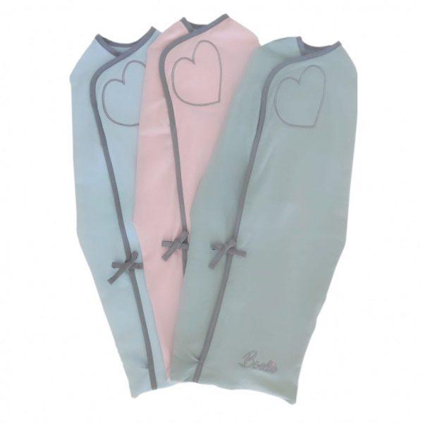 boelie originals inbakerdoek baby pink baby roze misty green mint groen baby blue baby blauw xxs swaddling wrap