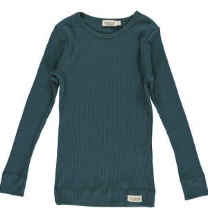 plain effe tee shirt longsleeve rib oily blue petrol blaiw