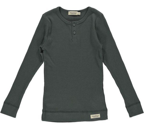 marmar lange mouwen shirt modal rib blauw grijs forrest shadow