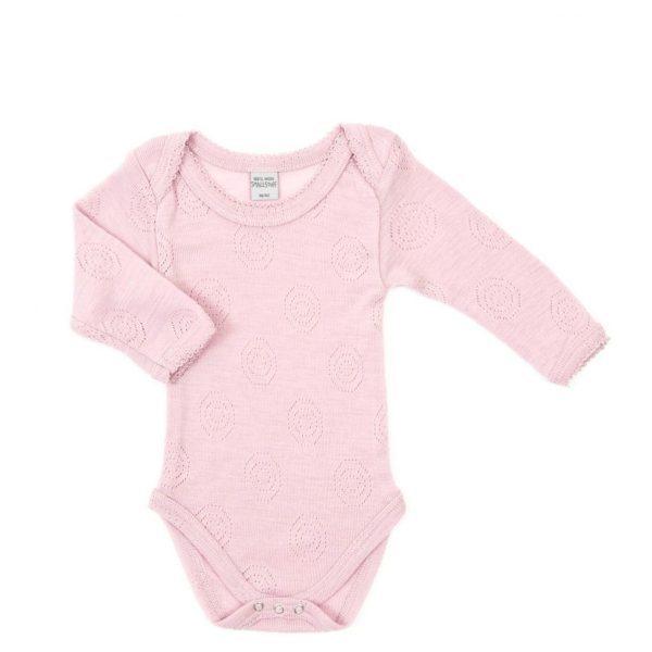 smalstuuf roze merino wool romper lange mouw