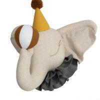 Love Me Decoration Linnen Circus Olifant Yellow Hat