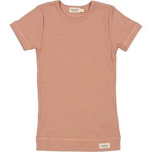 Marmar modal korte mouw shirt rib rose brown oud roze