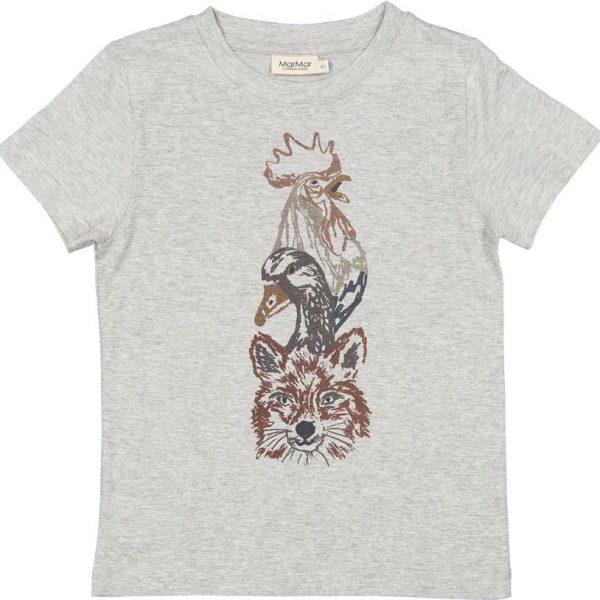 Marmar Ted t-shirt grey melange dieren vos eend haan