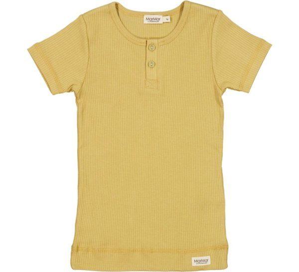 Marmar modal korte mouw shirt rib met knoopjes geel hay