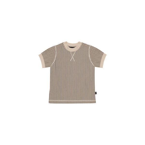 House Of Jamie Crewneck Tee Charcoal Sheer Stripes