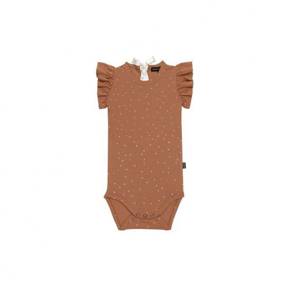 House Of Jamie Ruffled Bodysuit Burnt Ginger Dots