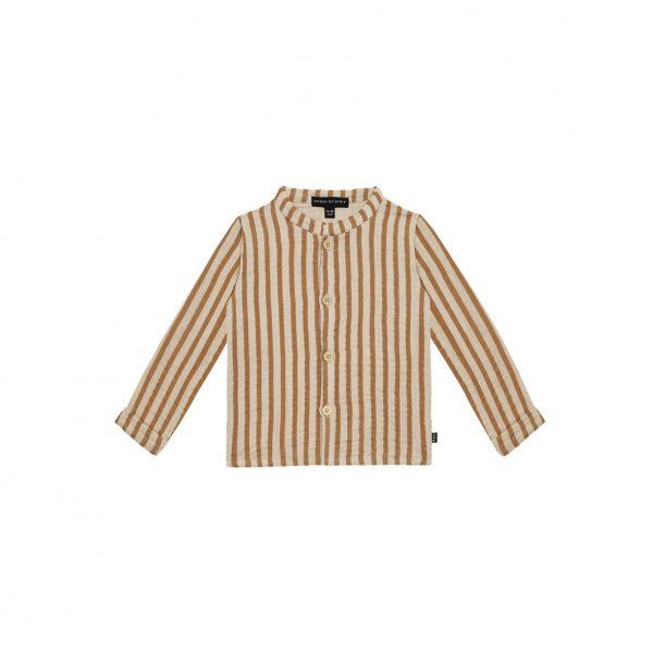 House of Jamie Boys Collar Blouse Vertical Apple Cider Stripes