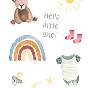 LoeLoe Postkaart Hello Welcome Little One