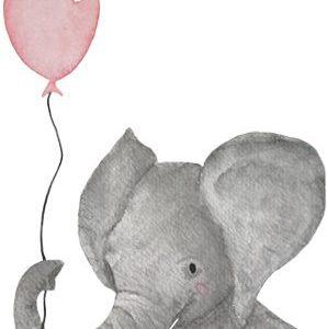 LoeLoe Postkaart Olifantje Roze Ballon